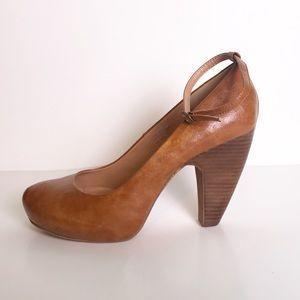 Chunky Heel Pumps Brown Ankle Strap   Zigi Soho
